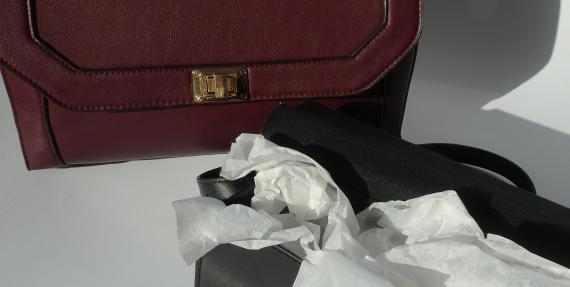 Tissue paper in a handbag