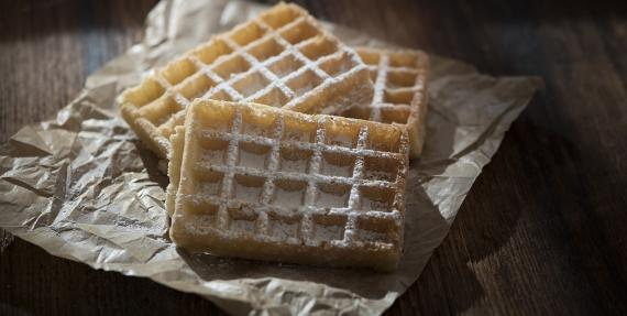 Brown baking paper with waffles